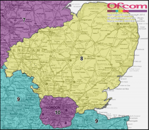 Ofcom Community Radio Regioons Map - Eastern England