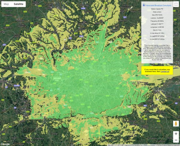 Measured Coverage Area (MCA ) map